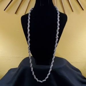 LOFT Pewter Twist Rope Bead Necklace #552